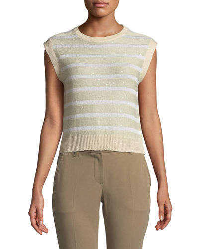 Striped Cap-Sleeve Crop Linen/Silk Sweater