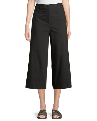 Brunello Cucinelli Silk-Belted Cropped A-Line Pants