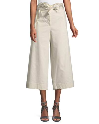 Silk-Belted Cropped A-Line Pants