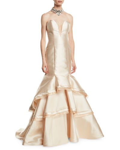 Jovani Strapless Sweetheart Tiered Gown w/ Embellished Choker