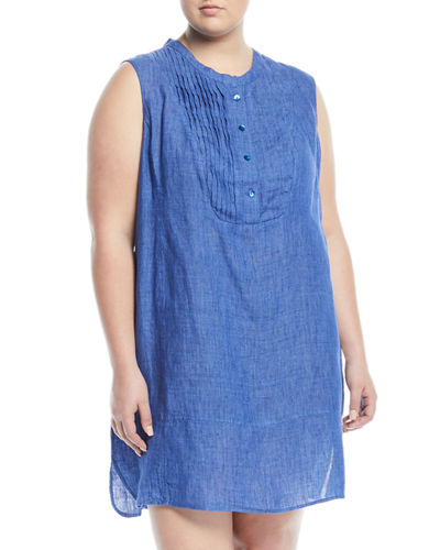 Drifty Linen Tunic Dress, Plus Size