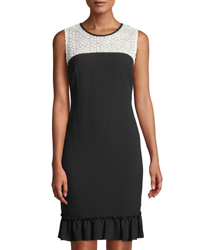 Sleeveless Crochet-Yoke Sheath Dress