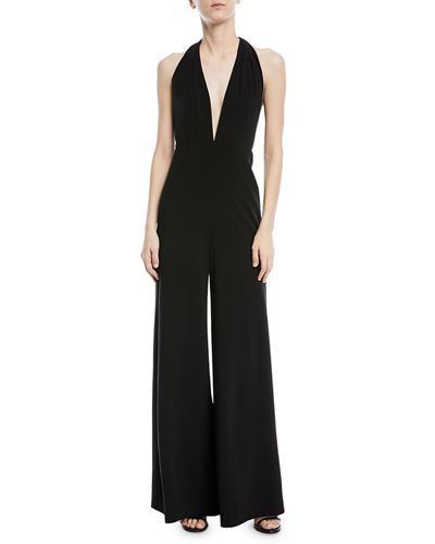 Halston Heritage Sleeveless Halter Jumpsuit w/ Strappy Back