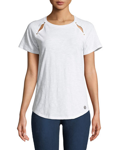 MICHAEL Michael Kors Crewneck Rivet-Shoulder Cutout Tee