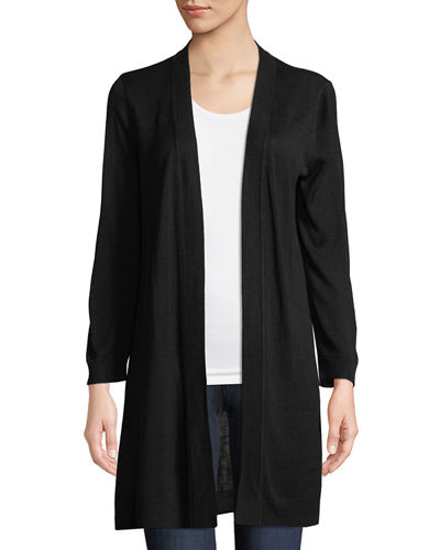 Joan Vass 3/4-Sleeve Open-Front Cardigan