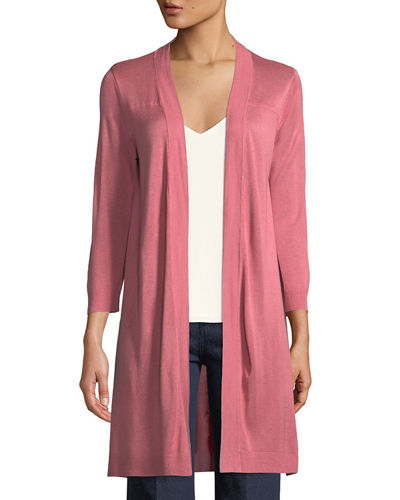 3/4-Sleeve Open-Front Cardigan
