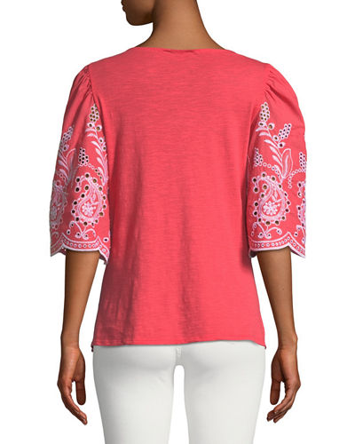 1/2 Sleeve Eyelet Embroidered Blouse
