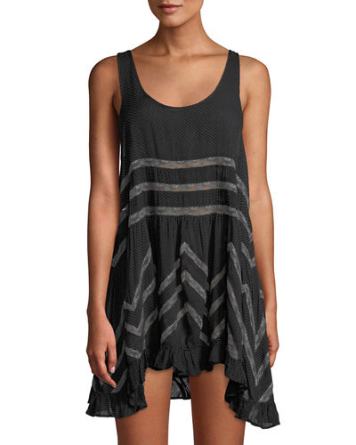 Lace-Striped Voile Trapeze Dress