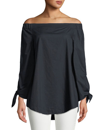 Off-The-Shoulder Tie-Sleeve Tunic