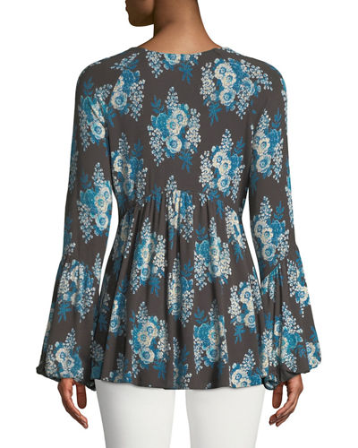Speak Easy V-Neck Bell-Sleeve Blouse