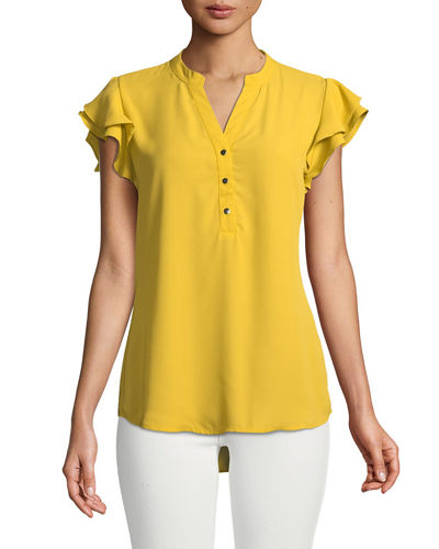 Ruffle-Tiered Button Front Blouse