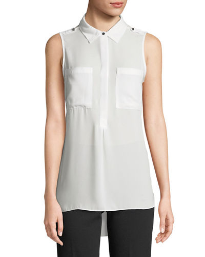 Sleeveless Chiffon Half Button-Front Shirt