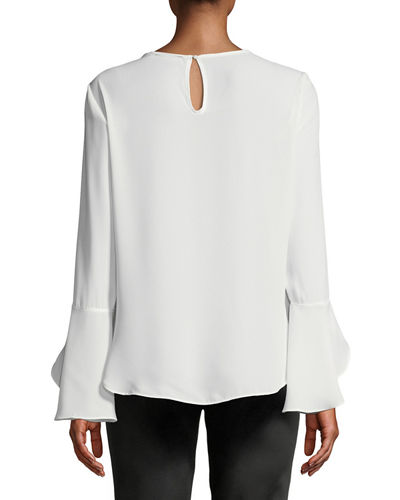 Wrap-Front Bell-Sleeve Blouse
