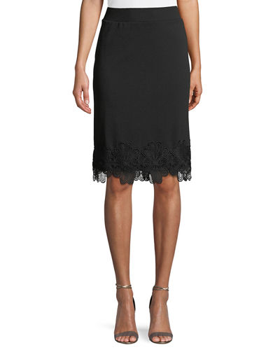 Pull-On Embroidered-Hem Pencil Skirt