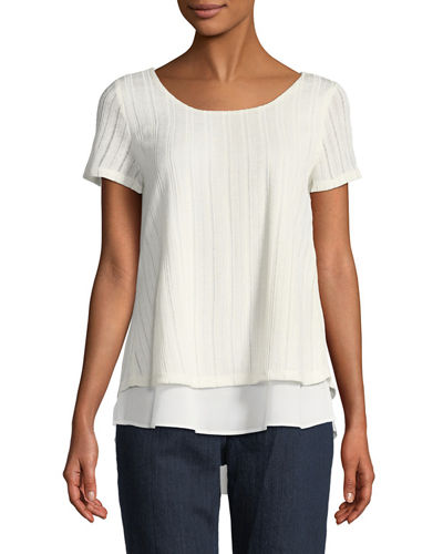 Ribbed Crossover-Back Twofer Tee