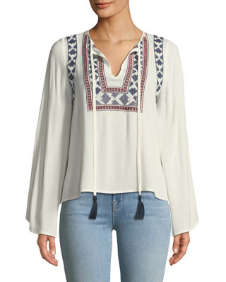 STELLAH Embroidered Bell-Sleeve Peasant Blouse in White