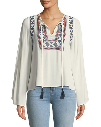 Embroidered Bell-Sleeve Peasant Blouse