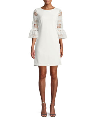 Crochet Bell-Sleeve Shift Dress Donna Ricco