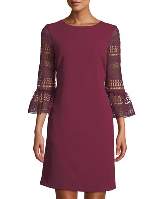 DONNA RICCO Crochet Bell-Sleeve Shift Dress in Red