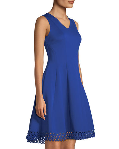 V-Neck Fit & Flare Lace-Hem Dress