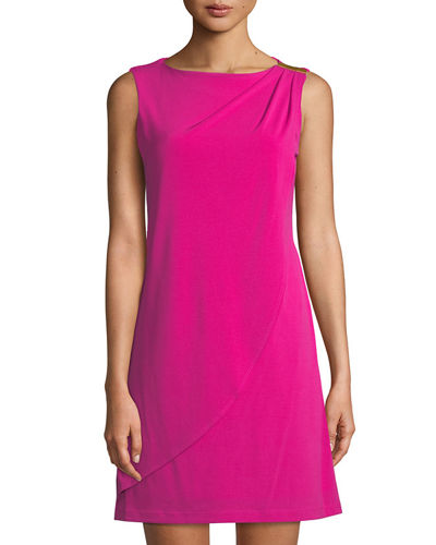 Donna Ricco Wrapped Matte-Jersey Mini Dress