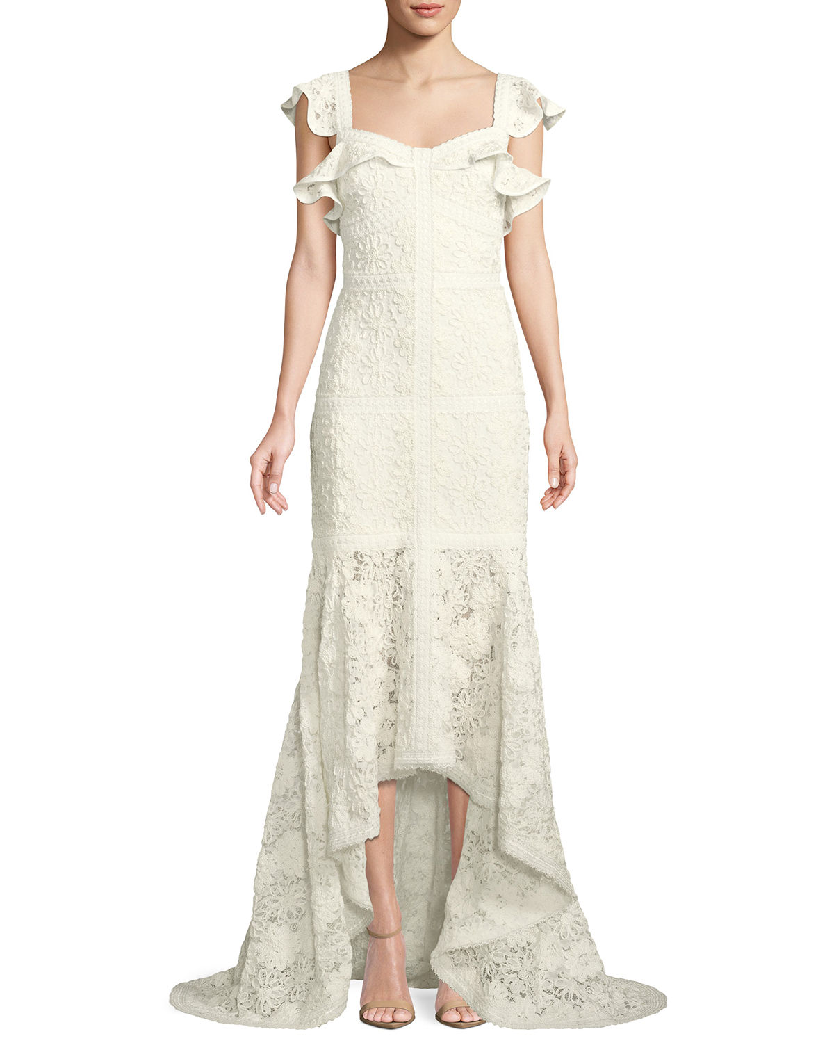 Alexis Tops ZANDER LACE FLUTTER-SLEEVE GOWN