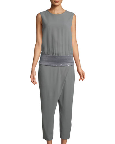 Brunello Cucinelli Sequin-Belted Crepe Sable Jumpsuit