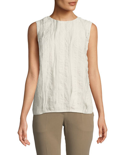 Textured Silk Sleeveless Tee