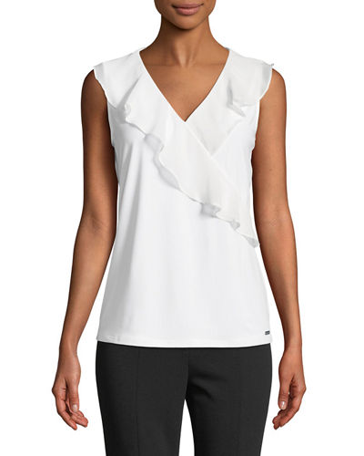 Wrapped-Ruffle Sleeveless Blouse