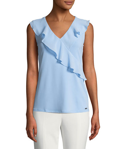 Iconic American Designer Wrapped-Ruffle Sleeveless Blouse