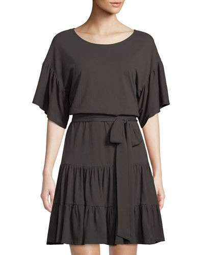 Angel Washed Tie-Waist Cotton Dress