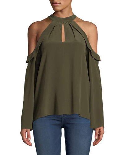 Ramy Brook Martie Cold-Shoulder Bell-Sleeve Crepe de Chine