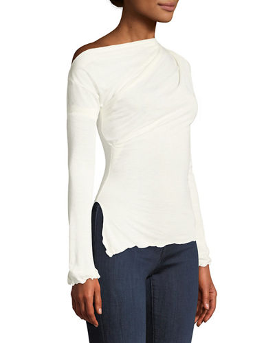 Always Available Long-Sleeve Ruffle-Trim Tee
