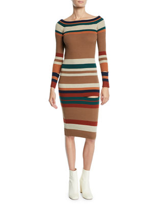 STYLEKEEPERS Long Knit Off-The-Shoulder Dress in Brown Pattern