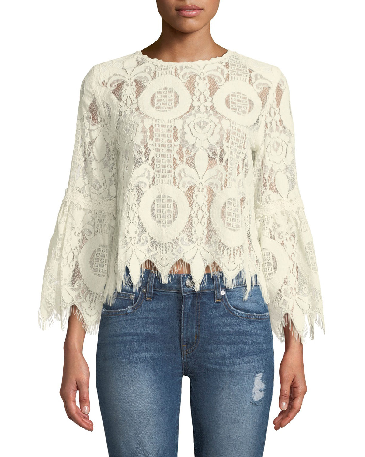 Love Lock Lace Bell-Sleeve Top