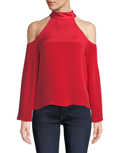 Ramy Brook Serena Cold-Shoulder Tie-Neck Top