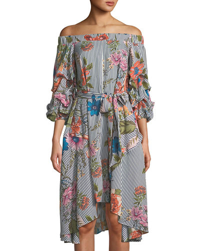 Off-The-Shoulder Floral Midi Dress