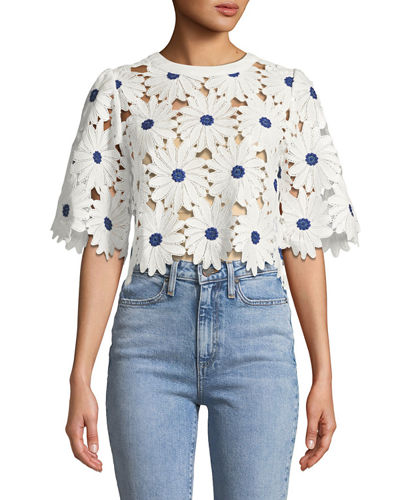 Big Flower Lace Crop Blouse