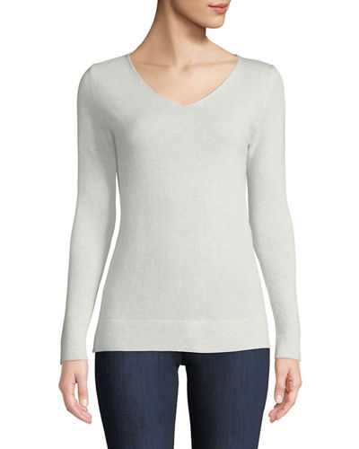 Neiman Marcus Cashmere Collection Cashmere Modern V-Neck Sweater