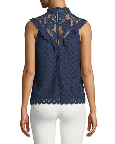 Mock-Neck Lace Illusion Tank
