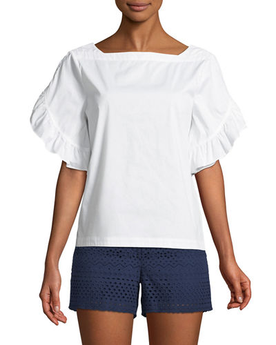 Ruffle-Tiered Short-Sleeve Button-Back Top
