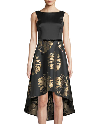 Floral-Taffeta High-Low Cocktail Dress
