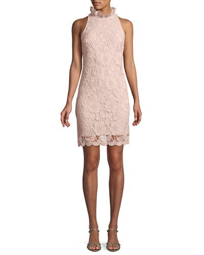 Mock-Neck Sleeveless Lace Sheath Dress