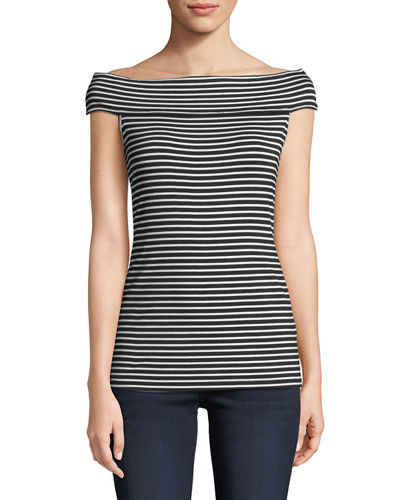 Striped Off-The-Shoulder Fitted Tee