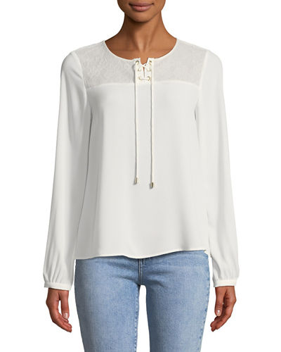 Karl Lagerfeld Paris Lace-Yoke Tie Front Blouse