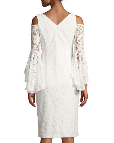 Lace Cold-Shoulder Bell Sleeve Dress