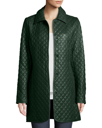 Quilted Button-Front Leather Trenchcoat
