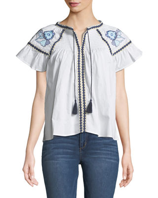 ALLISON NEW YORK Smocked-Yoke Embroidered Peasant Tee in White