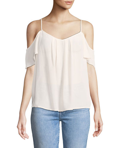 Adorlee Cold-Shoulder Silk Top