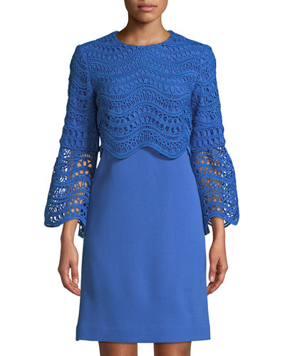 Lela Rose Crochet Bell-Sleeve Tunic Dress